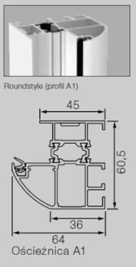 Aluminiowa ościeżnica 60 mm Profil-A1