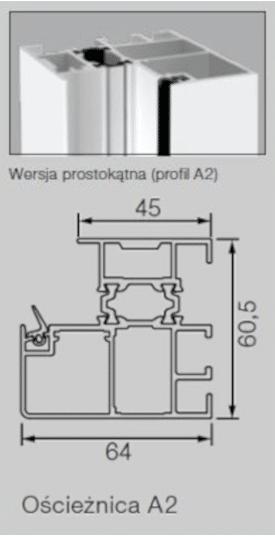 Aluminiowa ościeżnica 60 mm Profil-A2