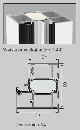 Aluminiowa ościeżnica 80 mm Profil A4